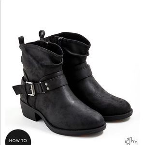 Torrid - slouchy moto buckle boot, faux leather, black